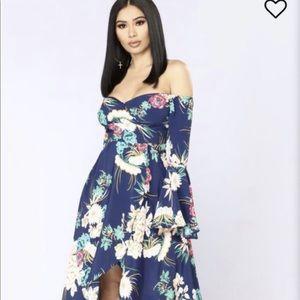 Navy Moonstone Beach Floral Dress